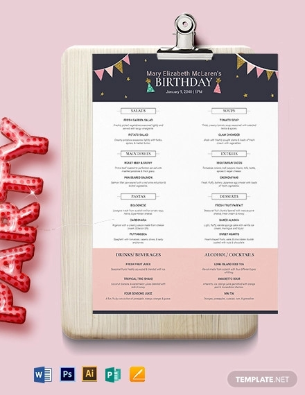 pretty birthday menu template