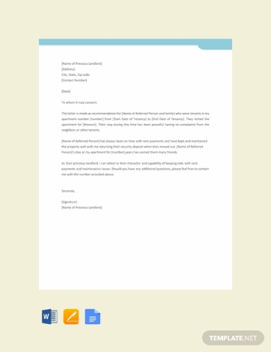 previous landlord reference letter for tenant