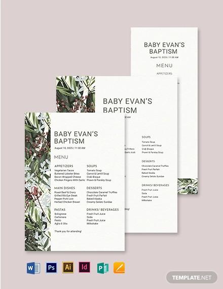 printable baptism menu template
