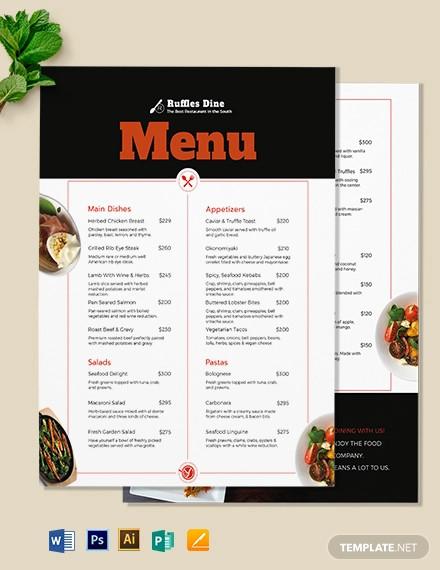 printable dinner menu template