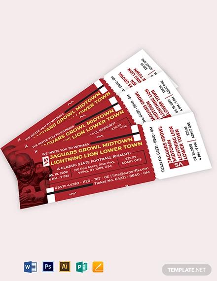 printable football ticket invitation template