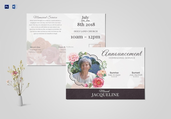 printable funeral announcement