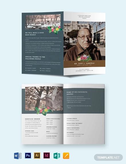 printable funeral obituary bi fold brochure template