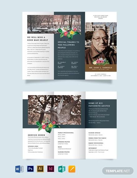printable funeral obituary tri fold brochure template