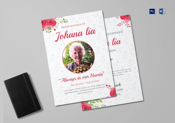 printable mother funeral announcement