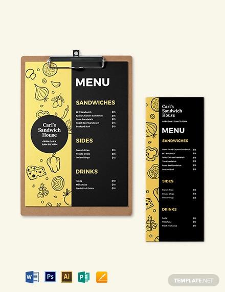 printable sandwich sub menu template