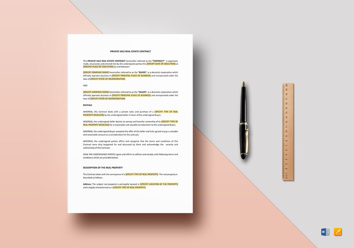 private real estate contract template