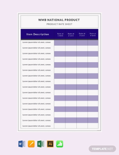 product rate sheet