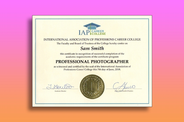 professional photographer certification course certificate