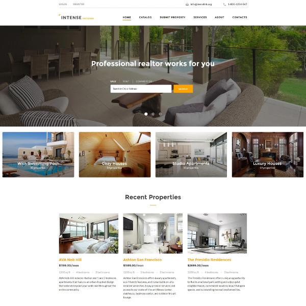 professional real estate website template