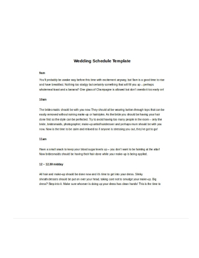 professional wedding schedule