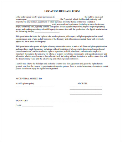 property location release form