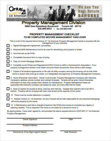 property management checklist before takeover