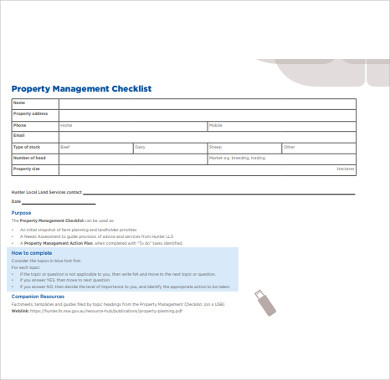 property management checklist example