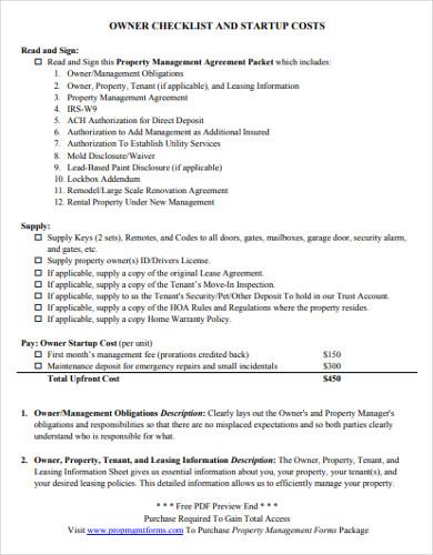 property management start up checklist