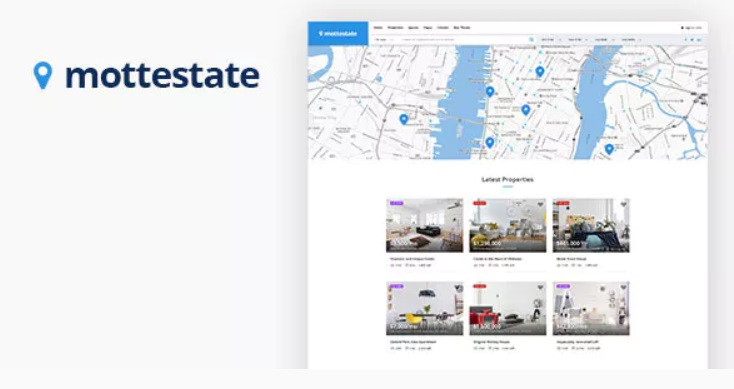 property management wordpress template with map