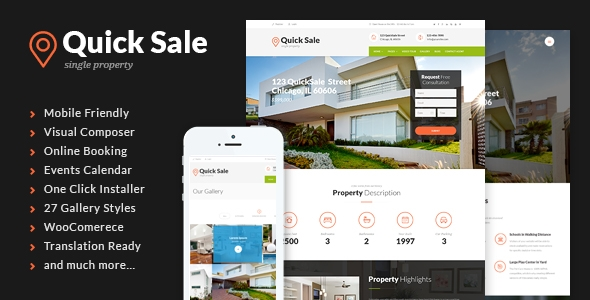 quick sale commercial real estate wordpress template
