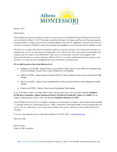 race event sponsorship letter
