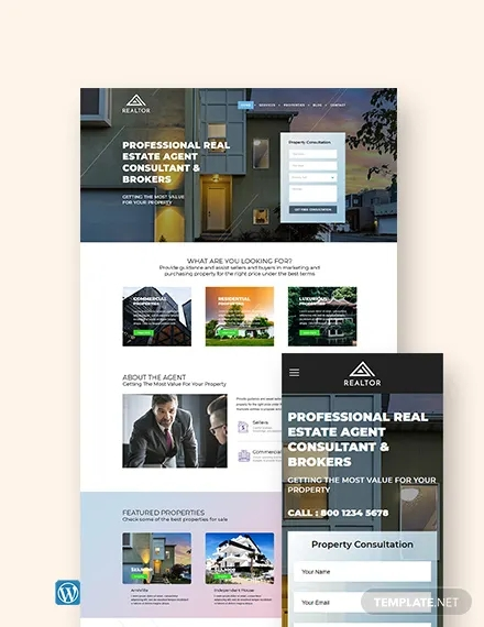 real estate agent realtor wordpress theme template