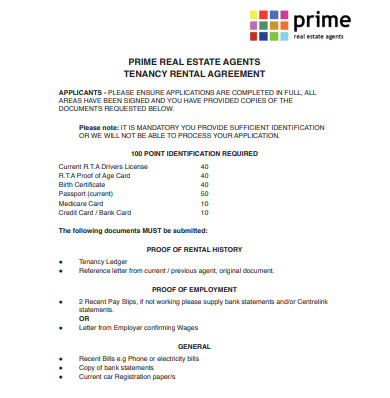 real estate agents tenancy rental agreement