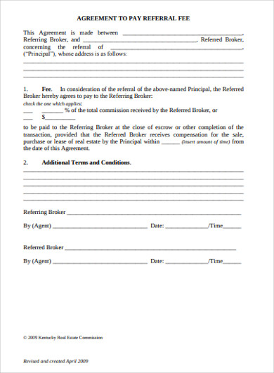 real estate agreement to pay referral fee