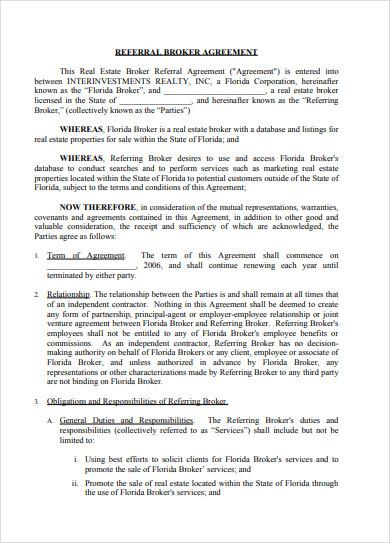 real estate broker referral agreement