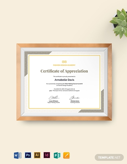 real estate certificate of appreciation for training