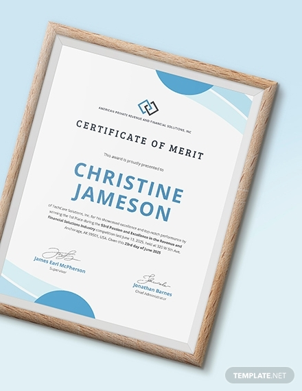real estate certificate of merit