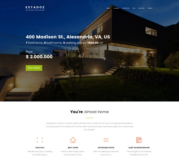 real estate home property wordpress template
