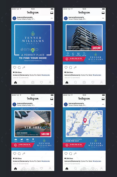 real estate instagram banner and story templates