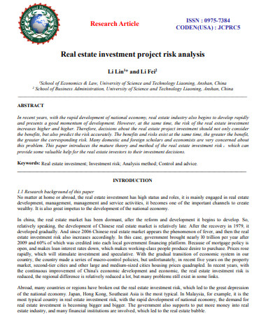 real estate investment project risk analysis