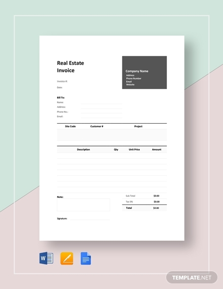 real estate invoice