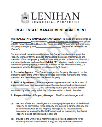 real estate management agreement