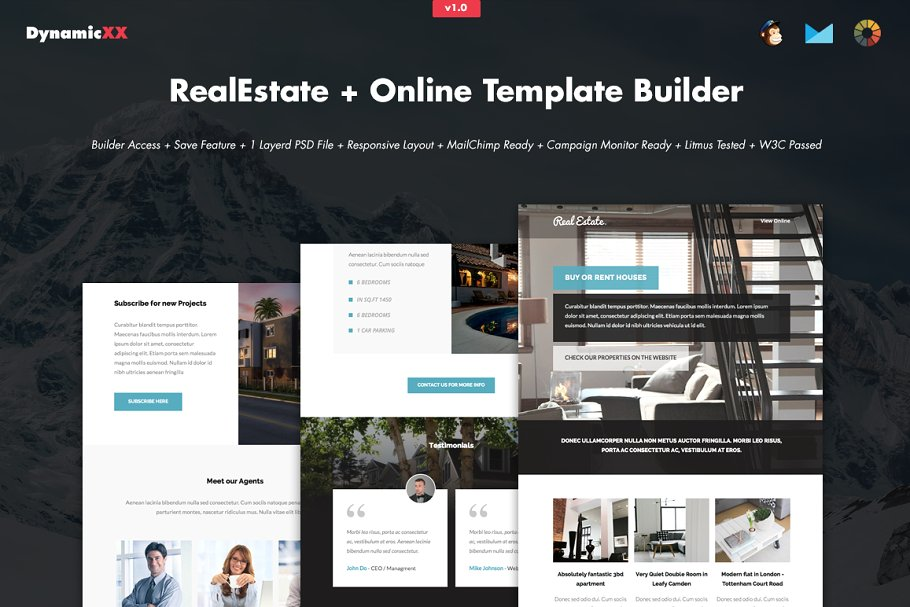 real estate marketing email template with builder