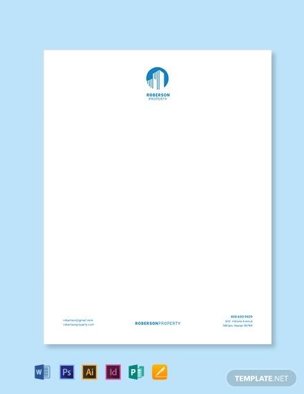 real estate property dealer letterhead template