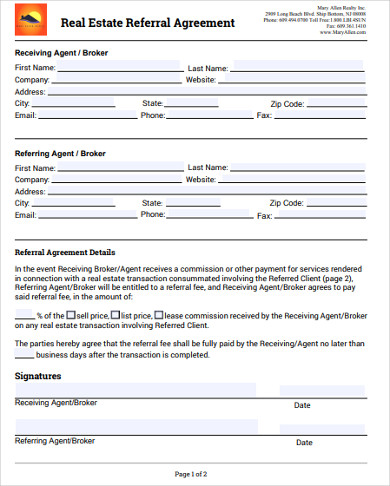 real estate referral agreement