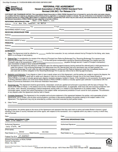 real estate referral fee agreement