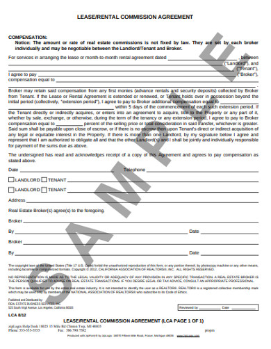 real estate rental commission agreement
