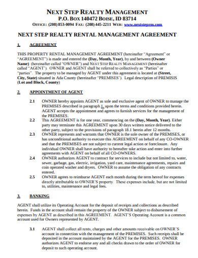 real estate rental management agreement