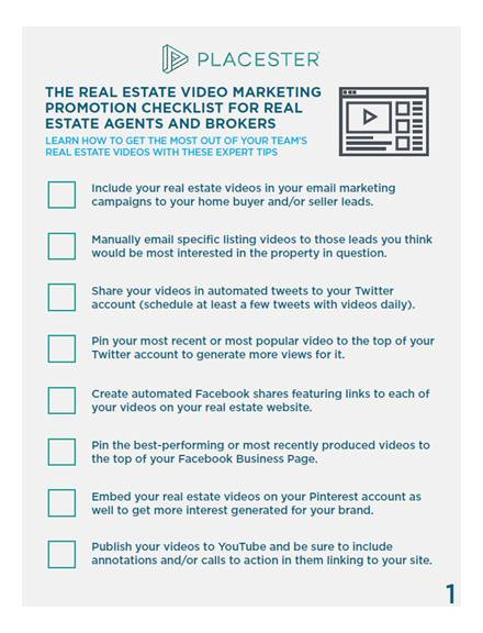 real estate video marketing promotion checklist