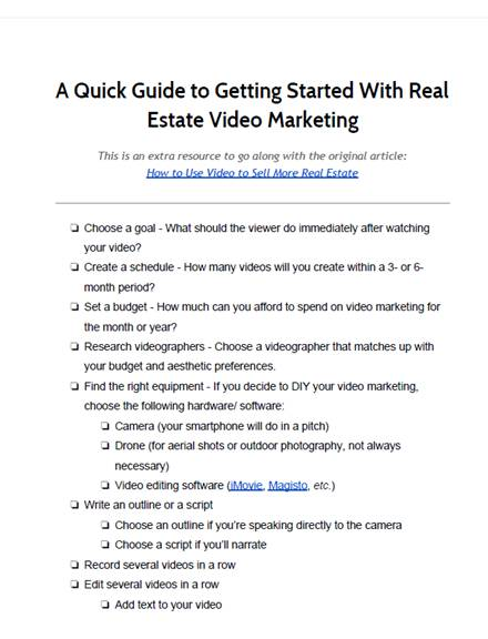 real estate video marketing quick guide
