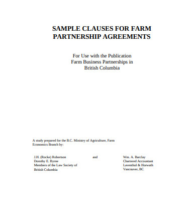 real estate farm partnership agreements