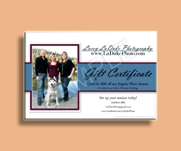 regular photo session gift certificate