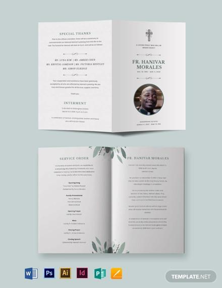 religious funeral obituary bi fold brochure template