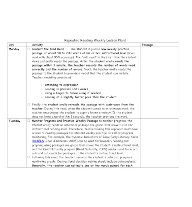 repeated reading weekly lesson plan1