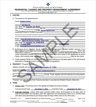 residential leasing and property management agreement