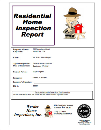 residential property home inspection report