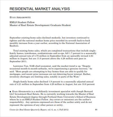 residential real estate market analysis
