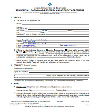 residential real estate property management agreement
