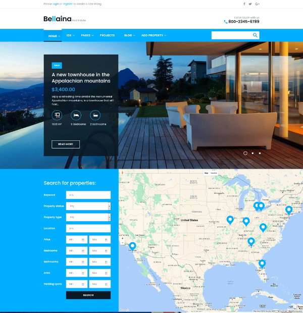 responsive real estate website listing wordpress theme
